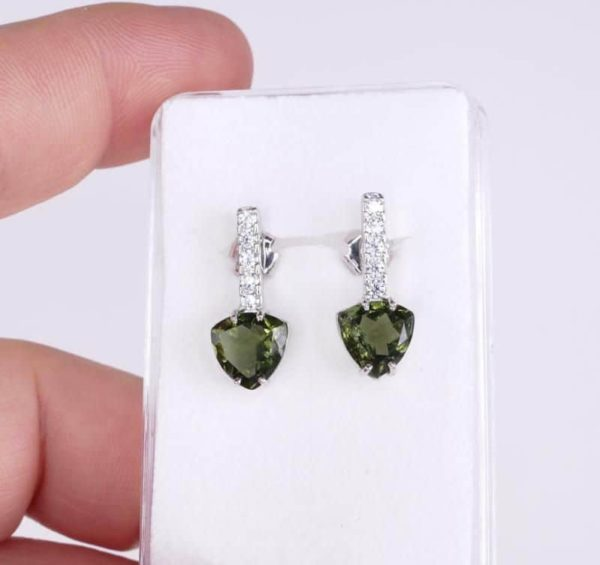 Faceted Moldavite Sterling Silver Earrings With Cubic Zirconia with Certificate of Authenticity (3.1grams) 3