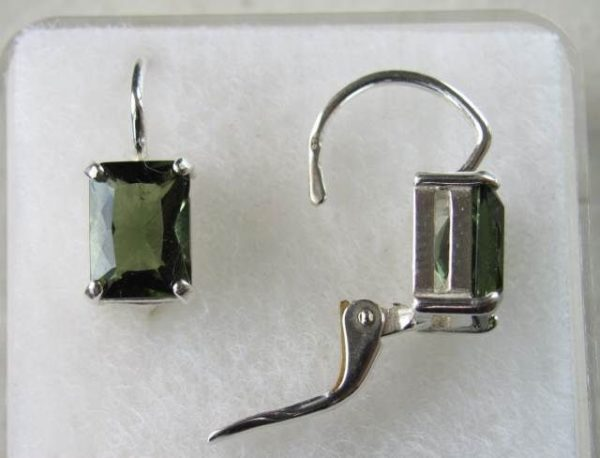 Rectangle Shape Moldavite Faceted Sterling Silver Earrings with Certificate of Authenticity (2.6grams) 3
