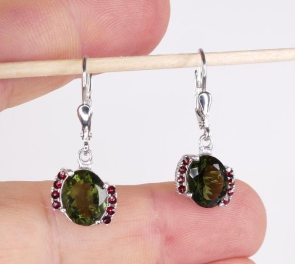 Moldavite Earrings With Cubic Zirconia With Certificate Of Authenticity (3.4grams) 4