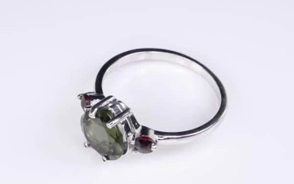 High Quality Faceted Moldavite Heart Shape Ring With Red Zircon (1.9grams) Ring Size: 56 (7.75 US) 4