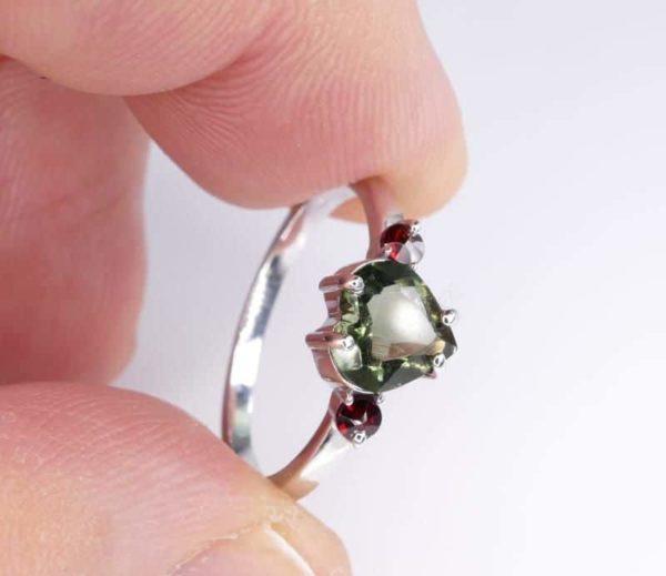 Heart Shape Faceted Moldavite Ring (1.9grams) Ring Size: 58 (8.5 US) 4