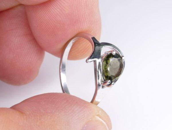 Unique Faceted Moldavite Ring (2.2grams) Ring Size: 55 (7.5 US) 4