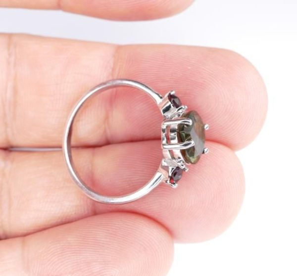 High Quality Faceted Moldavite Heart Shape Ring With Red Zircon (1.9grams) Ring Size: 56 (7.75 US) 5