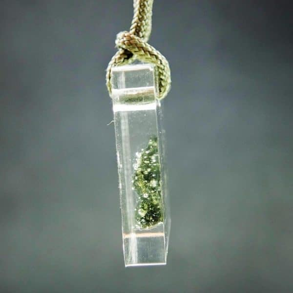 Authentic Moldavite in Resin Pendant with Certification of Authenticity (7.11grams)