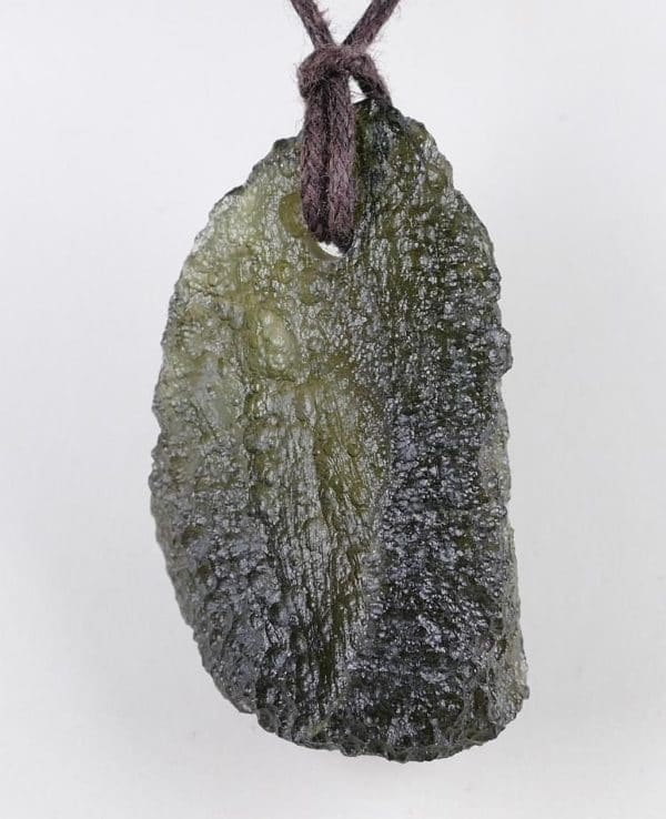 Authentic Natural Raw Moldavite Drilled Pendant with Certification of Authenticity (6.4grams)