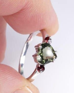 Heart Shape Faceted Moldavite Ring