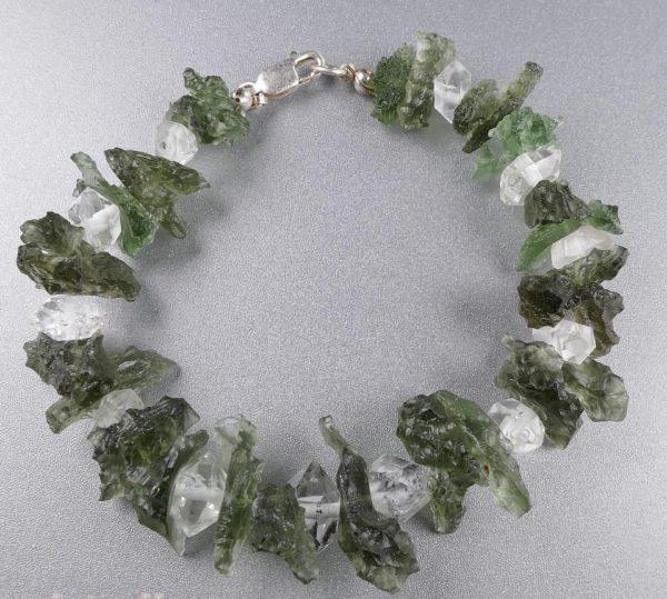 Herkimmer Diamond Moldavite  Silver Bracelet