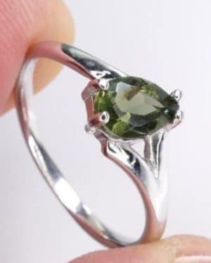 High Quality Faceted Moldavite Ring