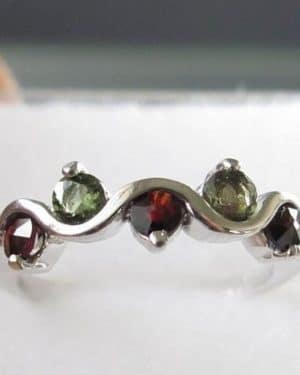 Moldavite with Garnet Sterling Silver Ring