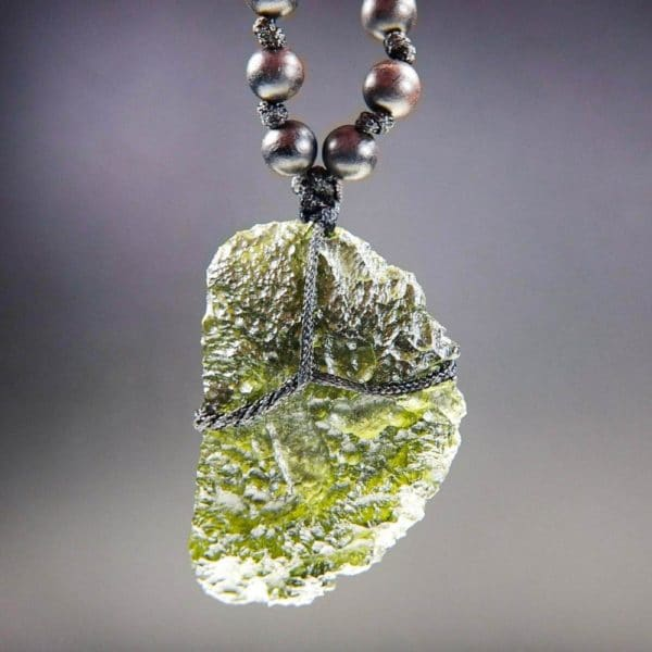 Natural Large Piece Moldavite with Wood Beads Necklace