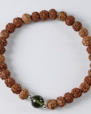 Powerfull Rudraksha Bead Moldavite Bracelet