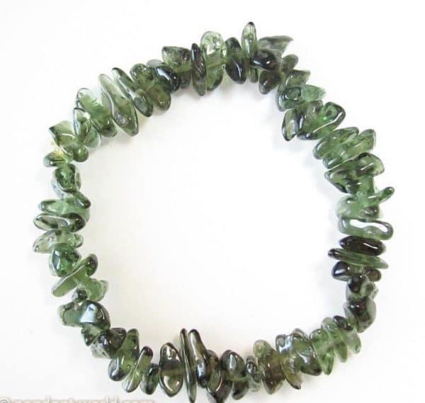 Rare Stretchable Chip Moldavite Bracelet