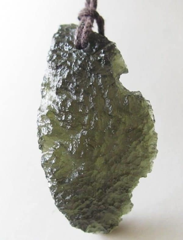 Uncommon Shape Raw Moldavite Pendant with Certificate of Authenticity (8.2grams)