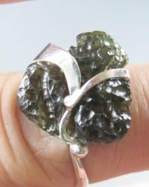 Natural Raw Shape Moldavite Ring (3.2grams) Ring Size: 56 (7.75 US)