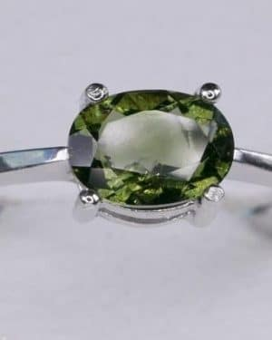 Faceted Moldavite Oval Shape (1.8grams) Ring Size: 56 (7.75 US)