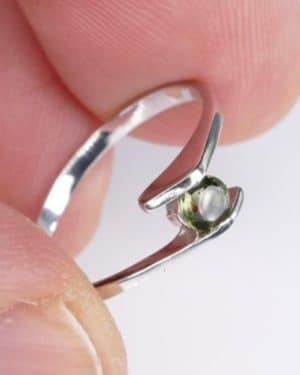 Faceted Round Moldavite Ring (1.2grams) Ring Size: 51 (5.88 US)