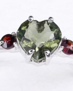 Heart Shape Faceted Moldavite Ring (1.9grams) Ring Size: 56 (7.75 US)