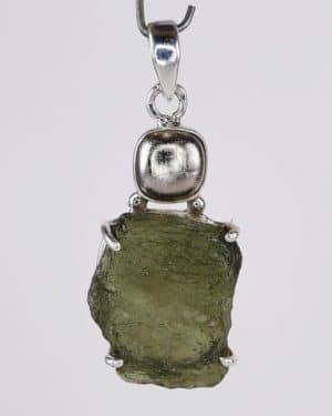 Iron Meteorite Fine Raw Moldavite Sterling Silver Pendant (6.9grams)