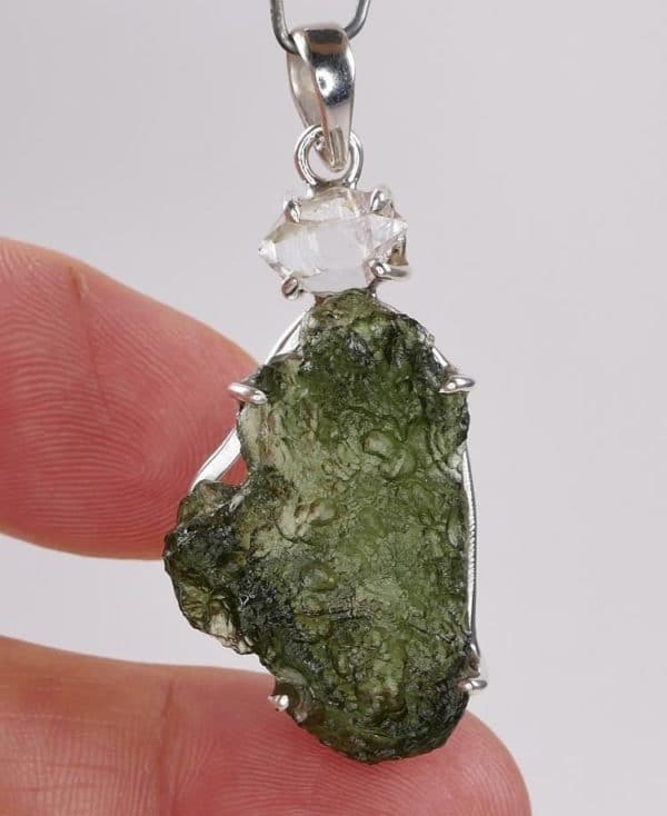 Rare Raw Shape Moldavite Pendant with Herkimmer Diamond with Certificate of Authenticity (7.4grams)