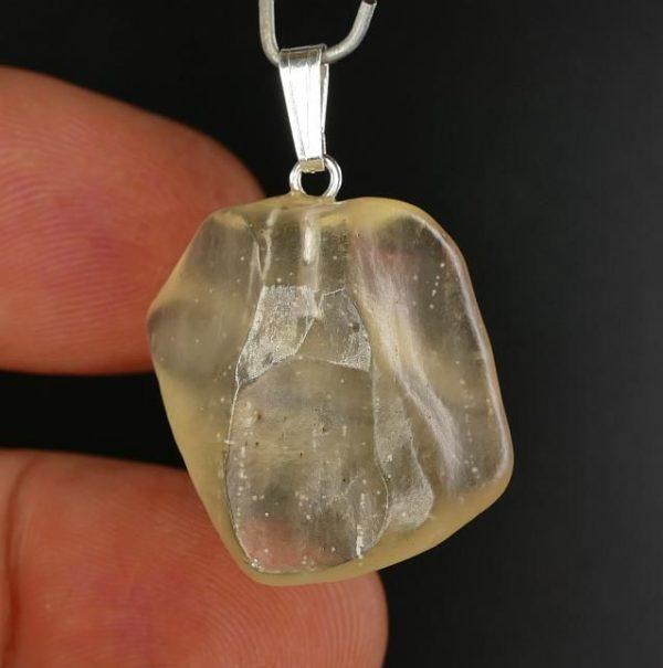 Gemmy Libyan Desert Glass Sterling Silver Pendant (6.6grams) 1