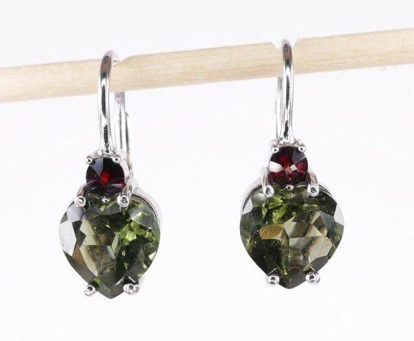 Heart Shape High Quality Grade Faceted Moldavite Earrings (2.5grams) 1