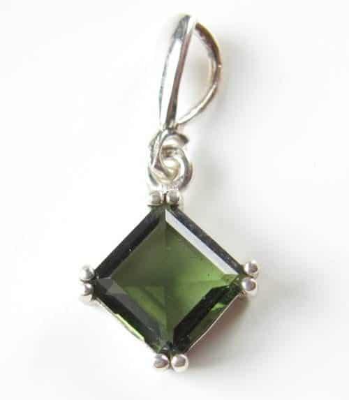 Authentic Faceted Square Moldavite Sterling Silver Pendant (1.1gram) 1