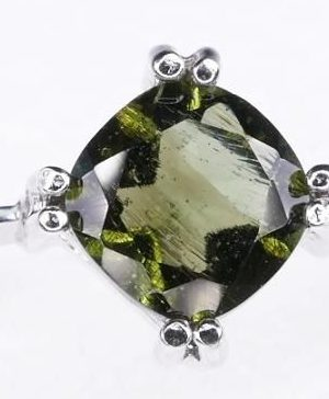 Unique High Quality Faceted Moldavite Ring (2.9grams) Ring Size: 58 (US 8.5) 1