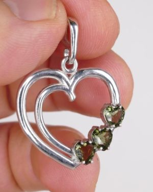 Multiple Heart Cut Shape Moldavite with Certificate of Authenticity (4.4grams) 1