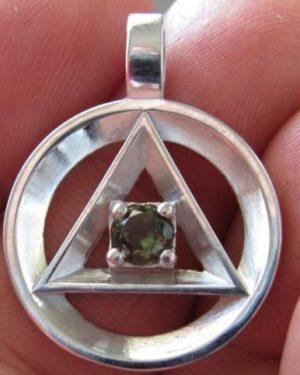 Moldavite Freemasonic Symbol Pendant (4.7grams) 1