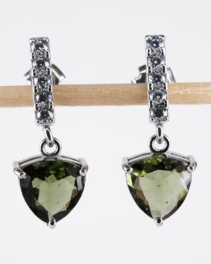 Authentic Moldavite Trill Cut With Cubic Zirconia (3.0grams) 1