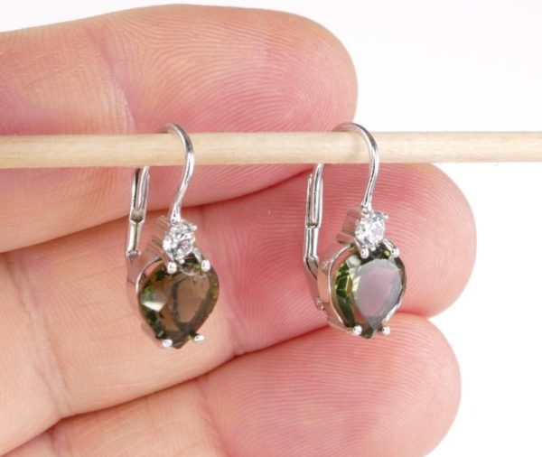 High Quality Moldavite With Cubic Zirconia Earrings With Certificate Of Authenticity (2.5grams) 1