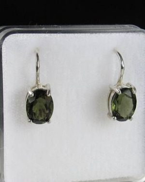 High Class A+ Authentic Oval Moldavite Earrings With Certificate Of Authenticity (1.6grams) 1