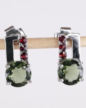 Moldavite Earrings With Cubic Zirconia With Certificate Of Authenticity (2.0grams) 1