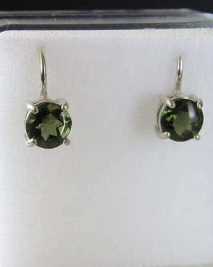 Faceted Round Sterling Silver Moldavite Earrings (1.60grams) 1