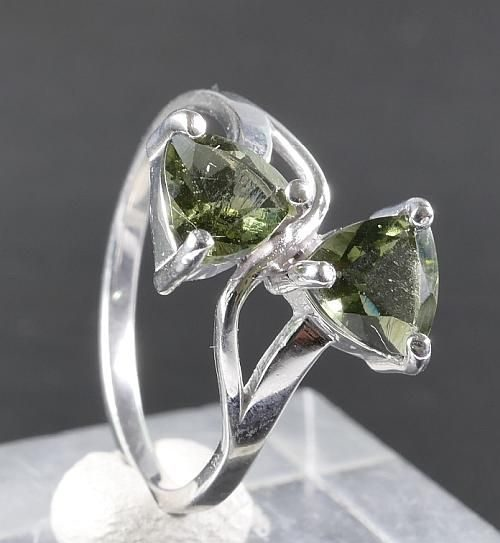 Authentic Double Faceted Moldavite (2.0grams) Ring Size: 54 (USA 7) 1