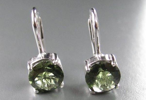 Authentic Moldavite Sterling Silver Earrings (2.0grams) 2