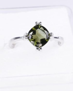 Unique High Quality Faceted Moldavite Ring (2.9grams) Ring Size: 58 (US 8.5) 2