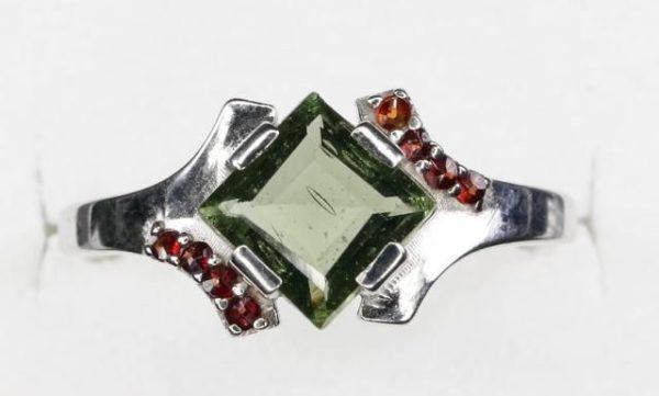 Authentic Diamond Shape Moldavite Ring with Garnet (2.4grams) Ring Size: 55 (USA 7 1/2) 2