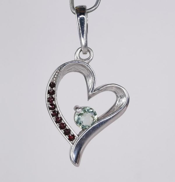 Heart Shape Faceted Moldavite Pendant With Red Cubic Zirconia with Certificate of Authenticity (4.0grams) 2