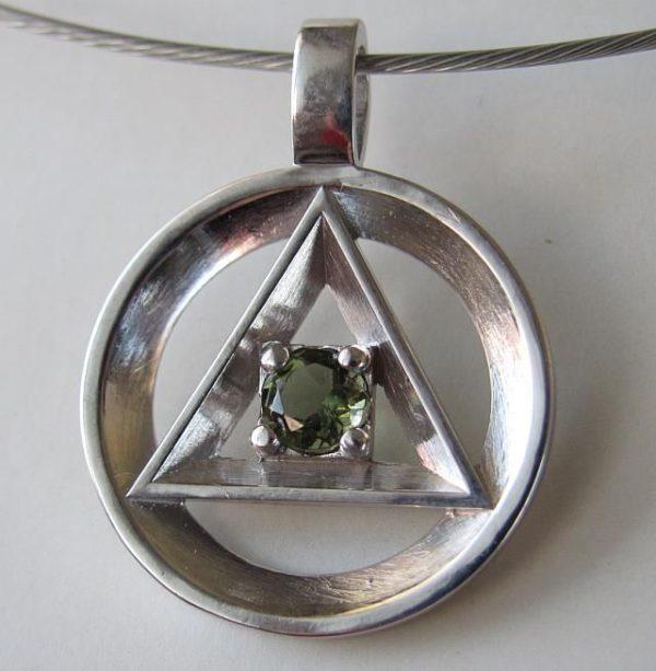Moldavite Freemasonic Symbol Pendant (4.7grams) 2