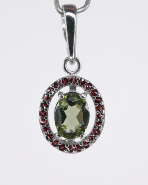 Moldavite Oval Cut with Garnets Pendant with Certificate of Authenticity (2.2grams) 2