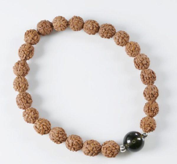 Authentic Rudraksha Moldavite Bead Bracelet (6grams) 2