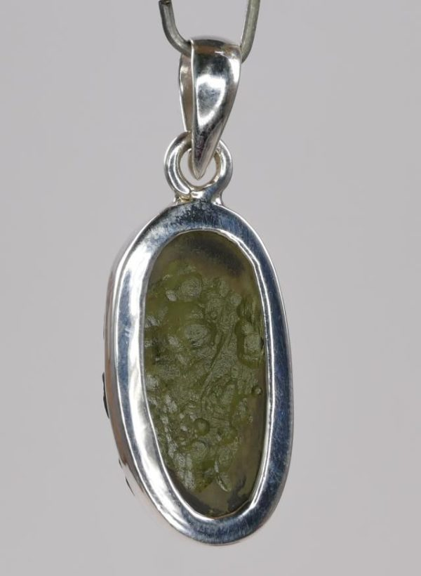 Unique Oval Raw Moldavite Pendant With Certificate Of Authenticity (3.7grams) 2