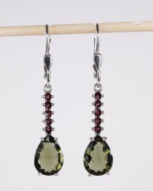 Beautiful Pear Cut Moldavite Earrings With Certificate Of Authenticity (3.5grams) 2