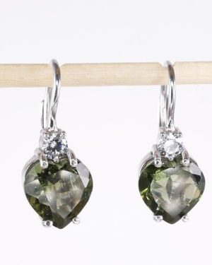 High Quality Moldavite With Cubic Zirconia Earrings With Certificate Of Authenticity (2.5grams) 2