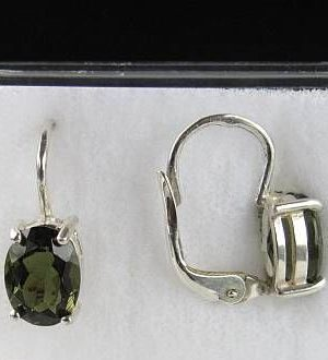 High Class A+ Authentic Oval Moldavite Earrings With Certificate Of Authenticity (1.6grams) 2
