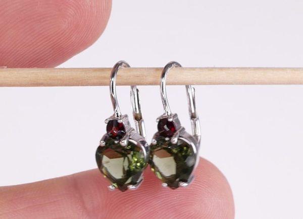 Heart Shape High Quality Grade Faceted Moldavite Earrings (2.5grams) 3