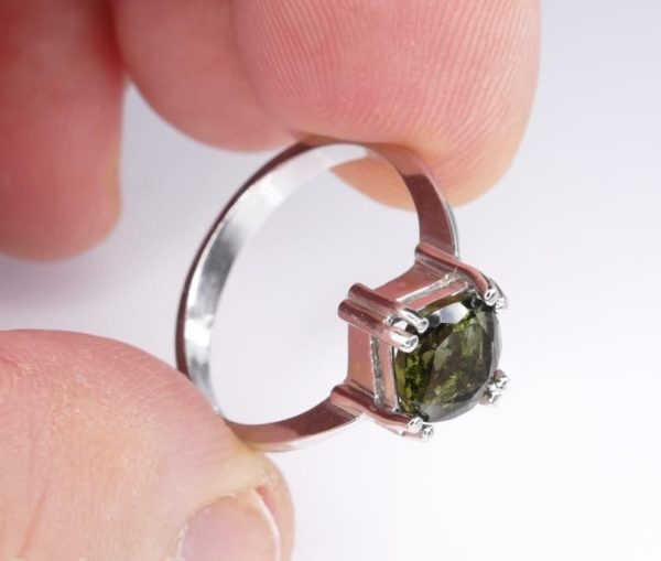 Unique High Quality Faceted Moldavite Ring (2.9grams) Ring Size: 58 (US 8.5) 3
