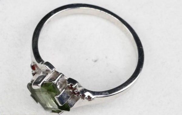 Authentic Diamond Shape Moldavite Ring with Garnet (2.4grams) Ring Size: 55 (USA 7 1/2) 3