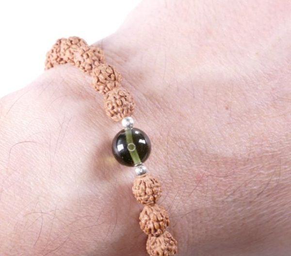 Authentic Rudraksha Moldavite Bead Bracelet (6grams) 3